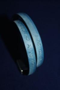 Lederarmband blau vintage mit individuellem Text