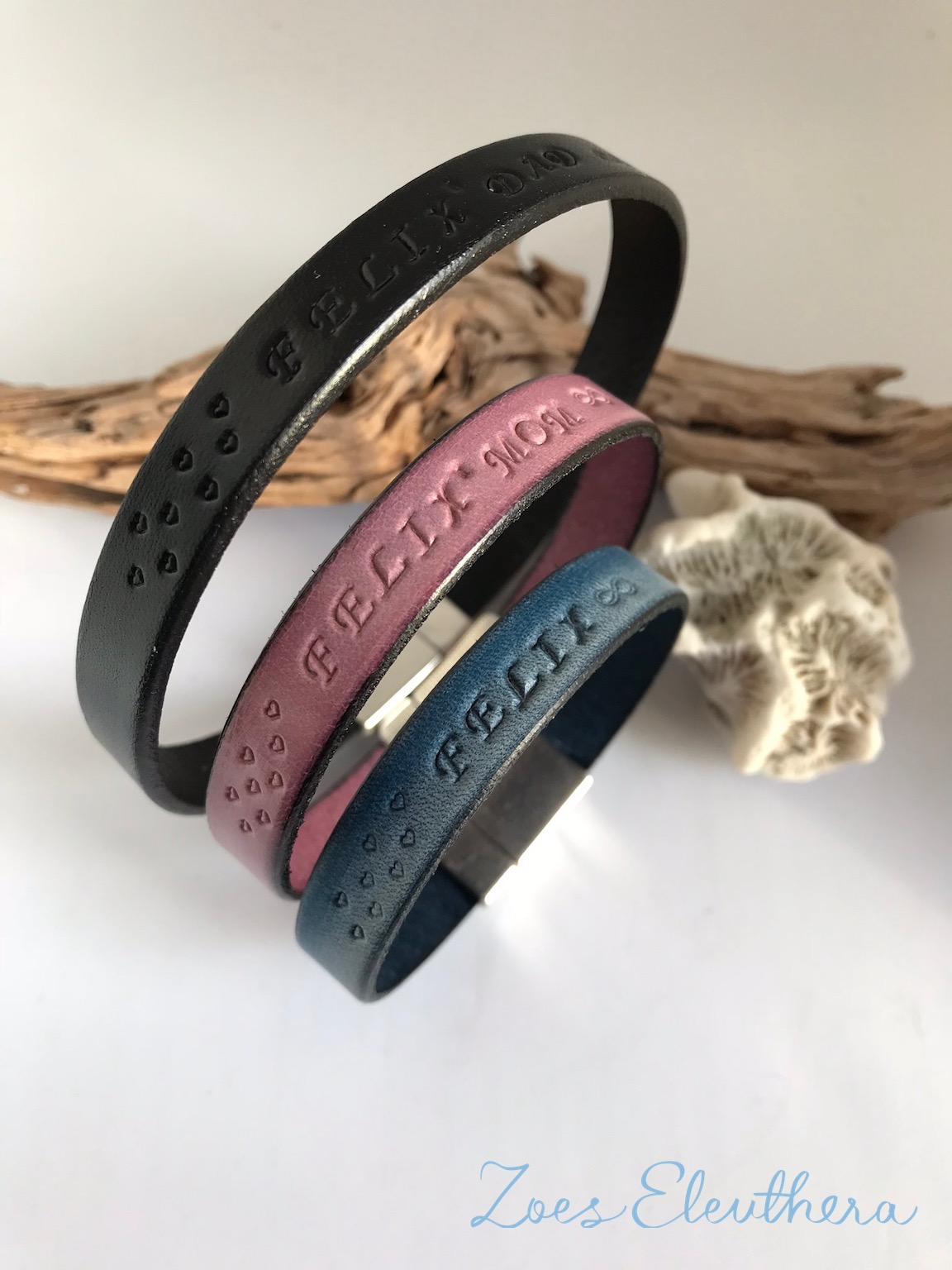 Bracelet Leather Family Set single row