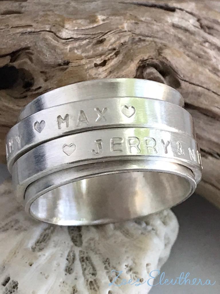 Ring Silber Drehring Text Name Motiv Herz Struktur individuell doppelt
