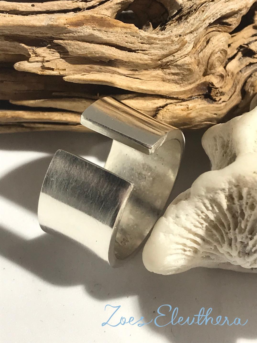 Ring Silber breit offen klar
