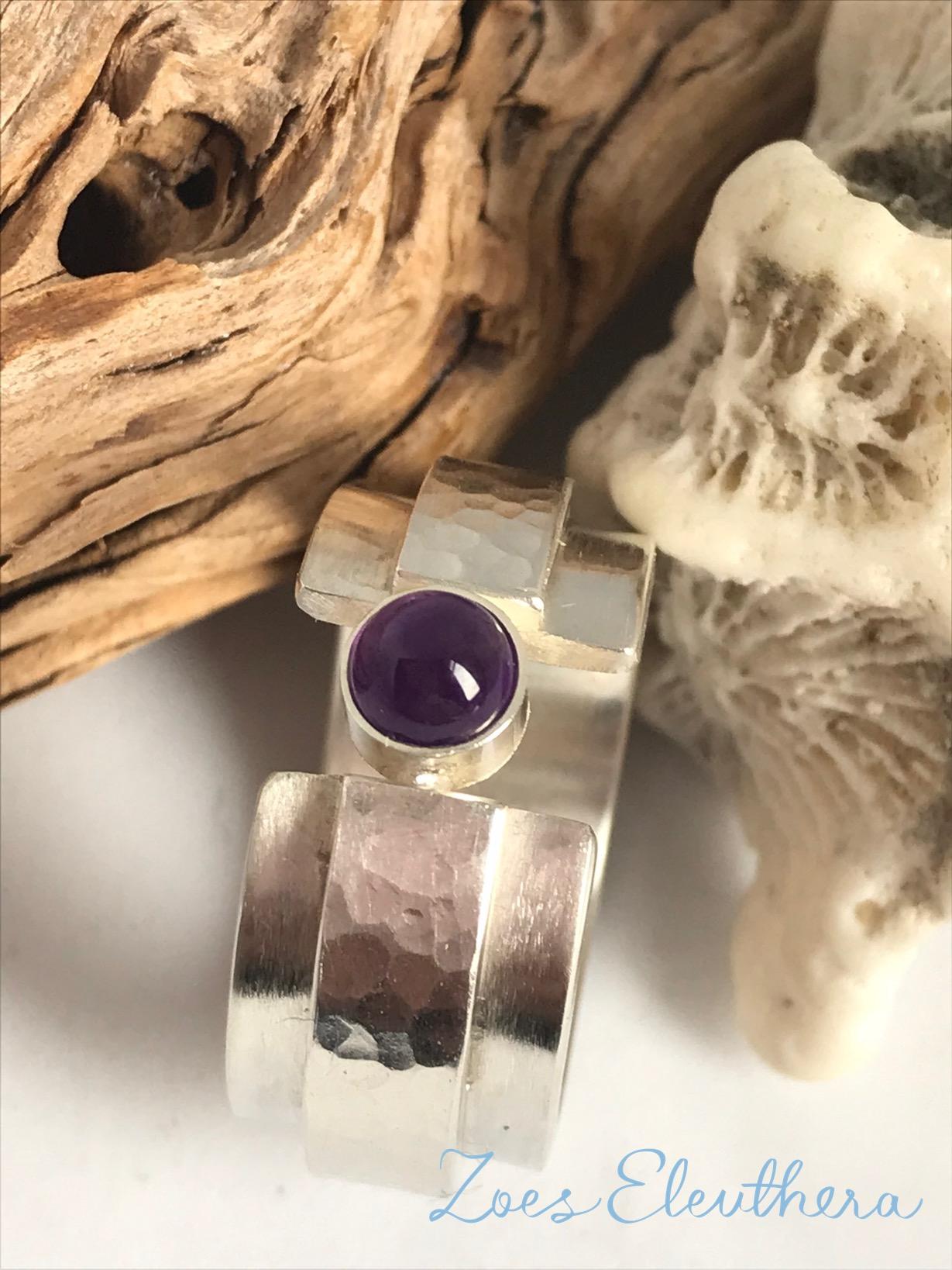 Ring Silver Gemstone Amethyst Cabochon Ring no Ring