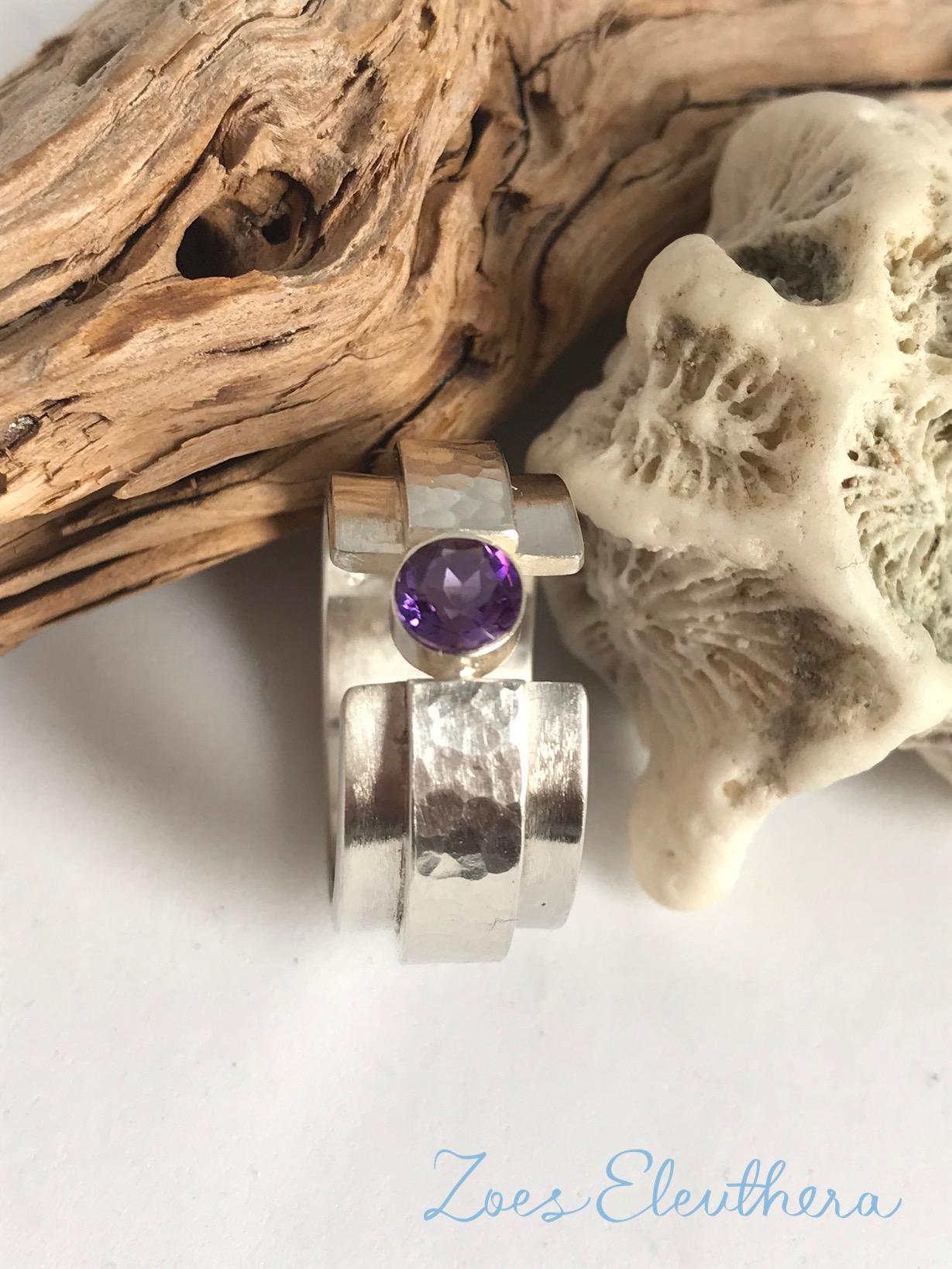 Ring Silver Gemstone Amethyst