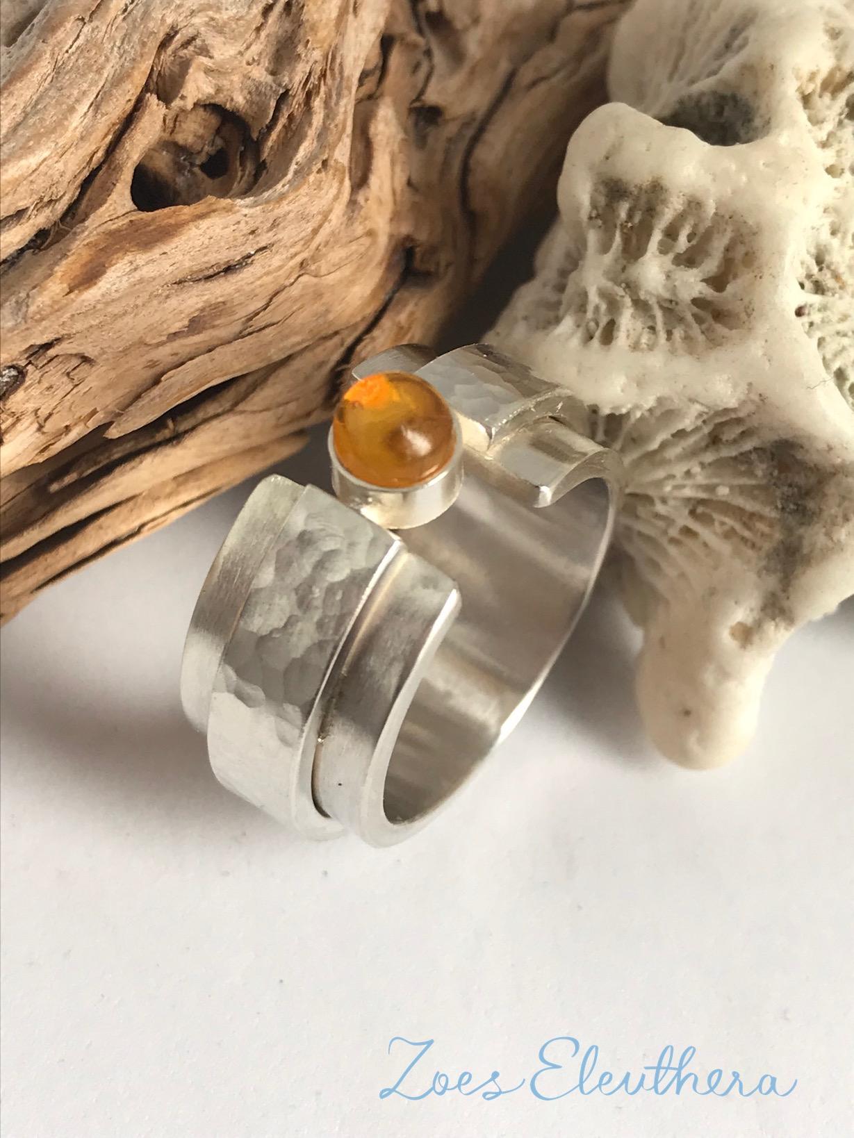 Ring Silver Gemstone Citrine