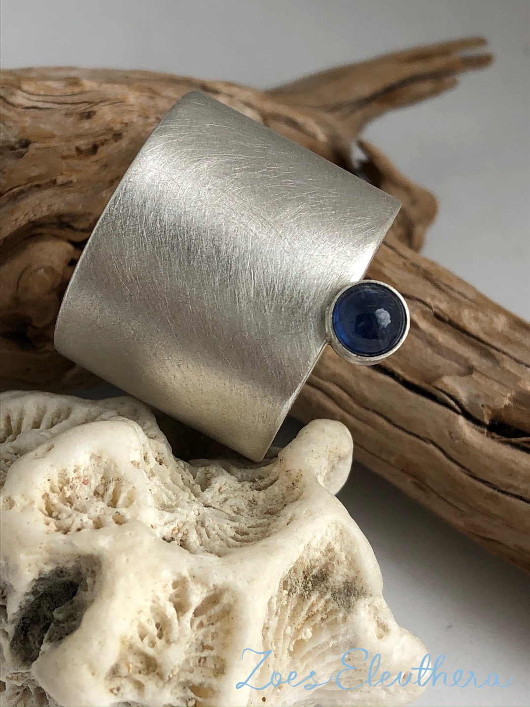 Ring Silber Saphir breit edel