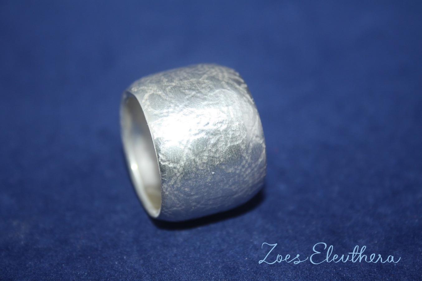 Ring Silber konvex Struktur konvex breit individuell