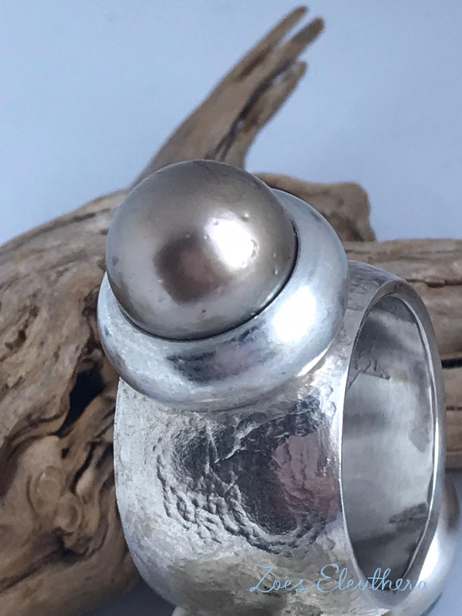 Ring Silber Tahiti Perle konvex breit