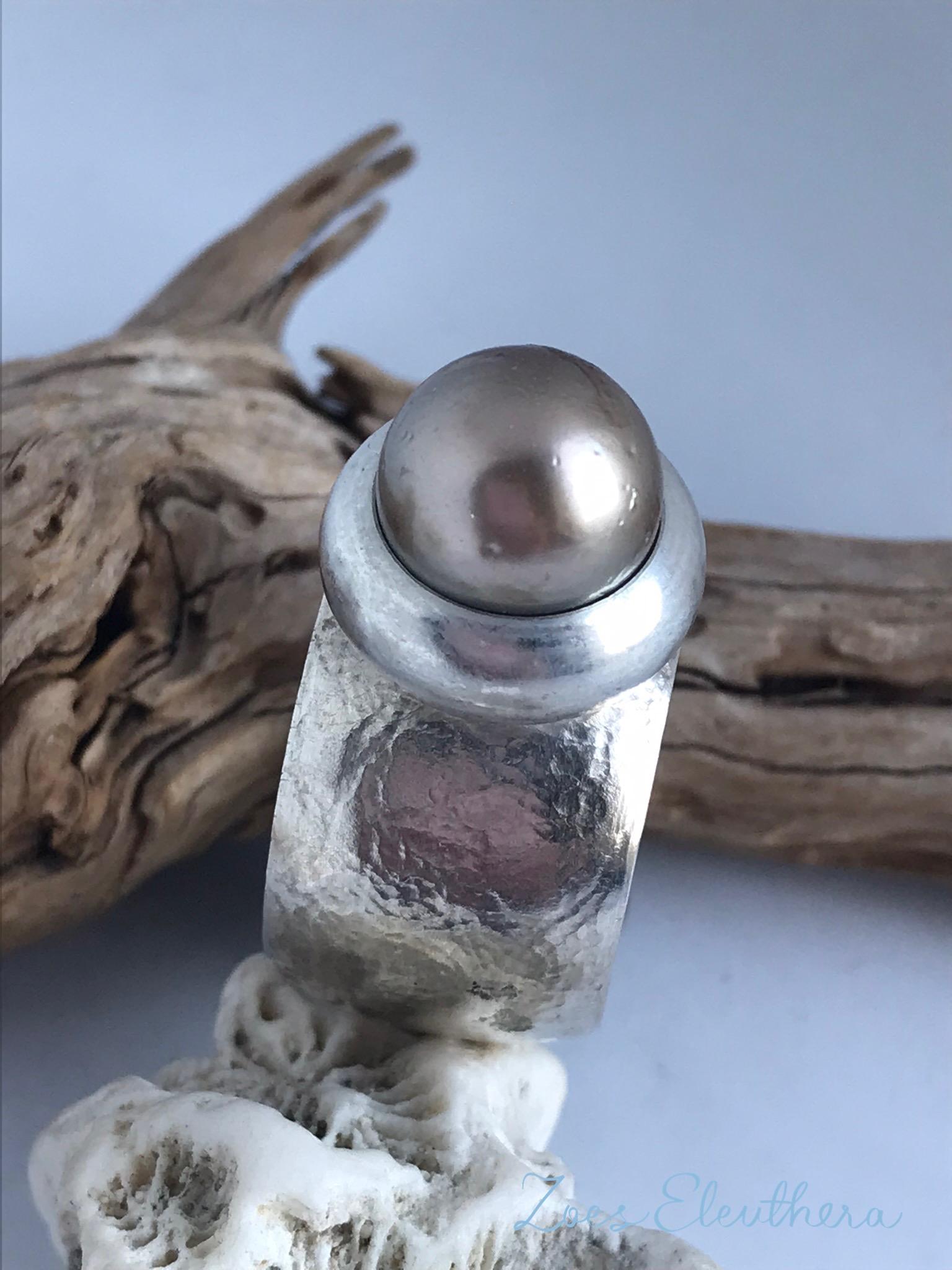 Ring Silber Tahiti Perle konvex massiv