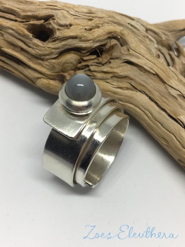 Ring Silber Wickelring Mondstein individuell nach Wunsch massiv