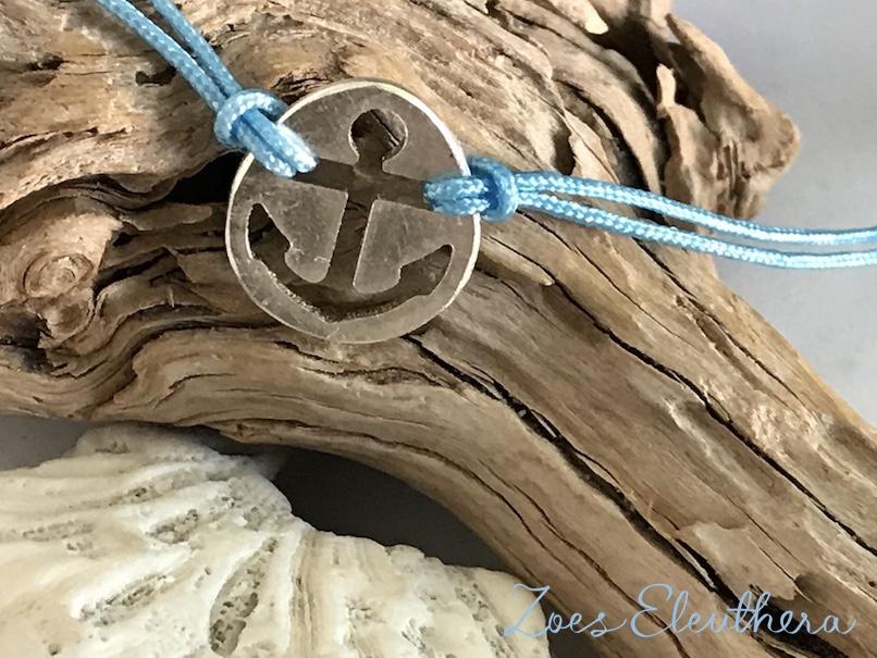 Armband Silber maritim Nylonband Anker Nylonband maritim