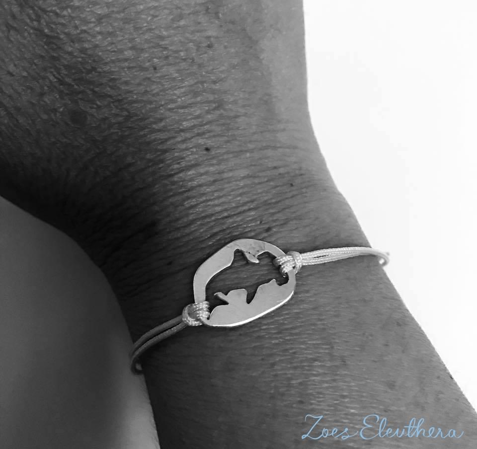 Armband Silber maritim Nylonband Hammerhai Nylonband maritim