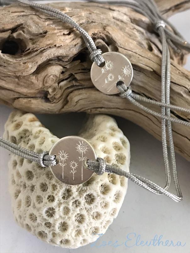 Armband Silber Motiv Nylonband Element Sommerwiese Nylonband individuell zart schmal