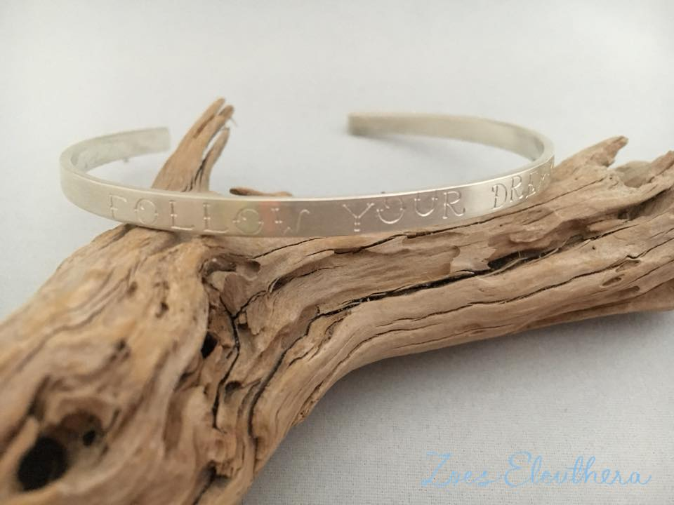 bangle silver motive saying delicate text name individual delicate
