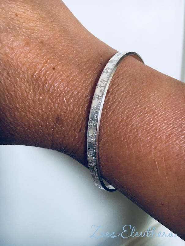 bangle silver summer meadow motive saying text name delicate