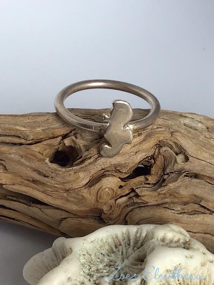 Ring Silver Seahorse Seahorse narrow delicate maritime individual