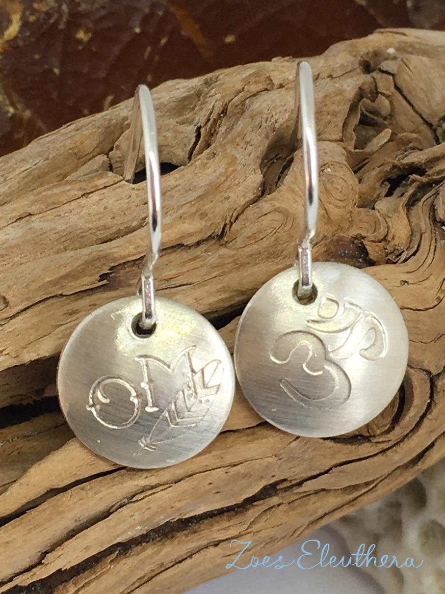 Earring Silver Om Feather Namaste