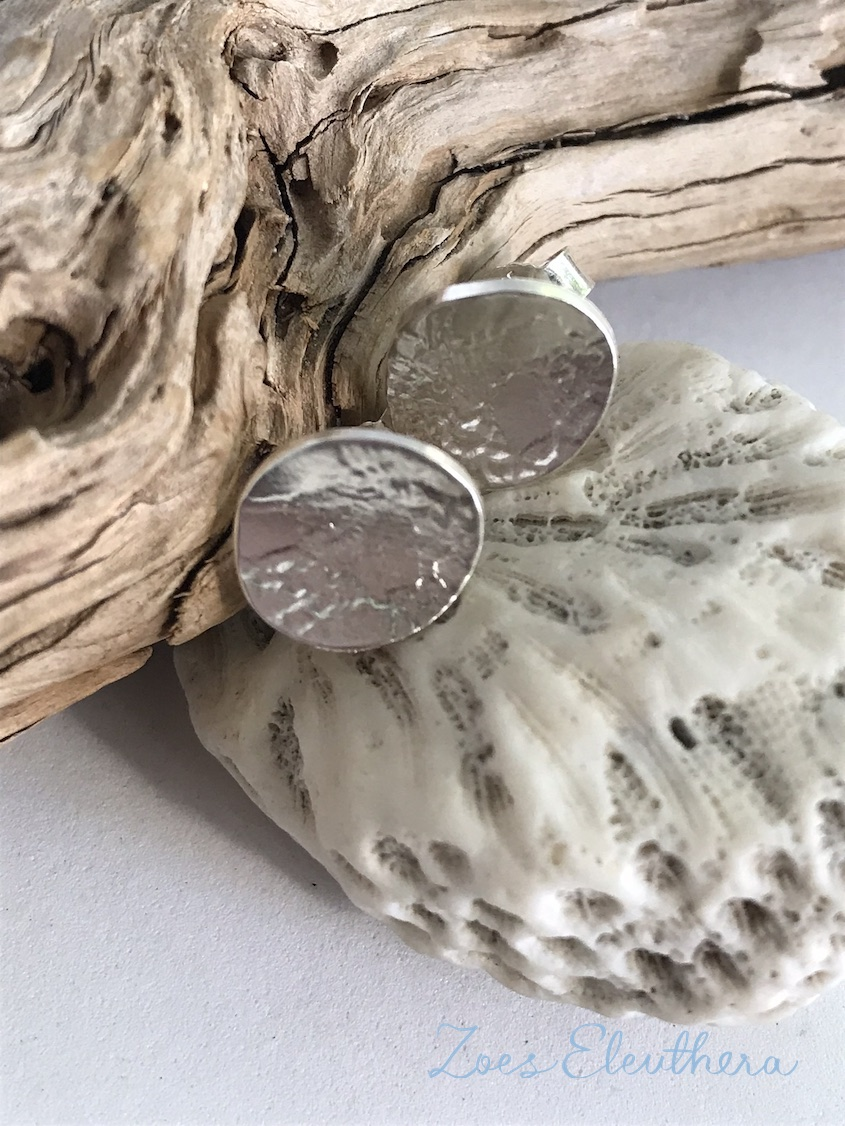 Earrings silver texture round delicate