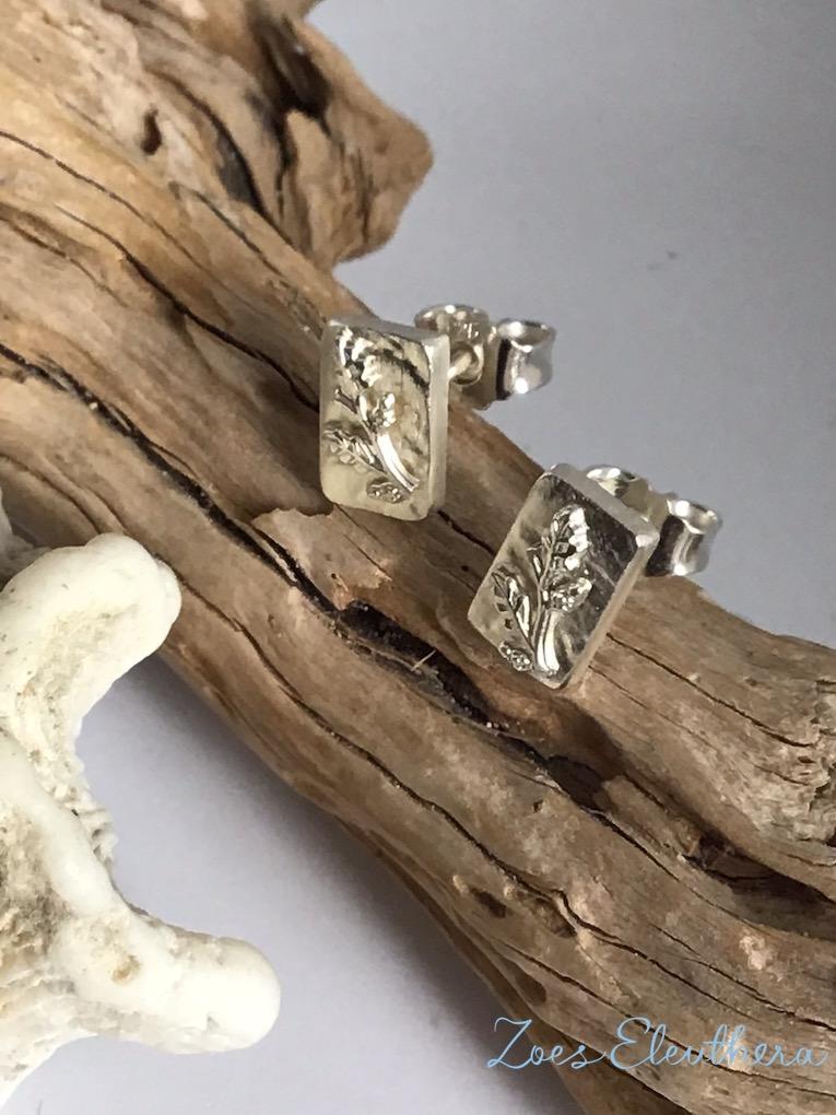 Ohrringe Silber Struktur Blatt