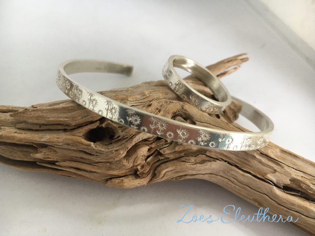 Armreif Ring Silber Set Sommerwiese