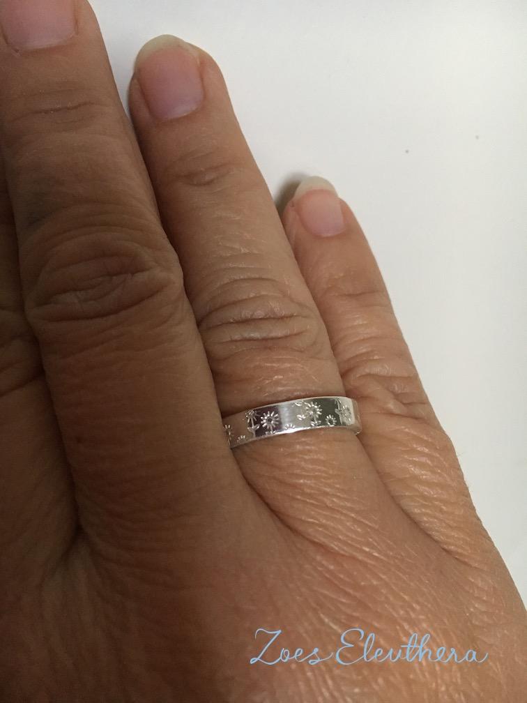 Ring Silber Sommerwiese Blumen zart individuell