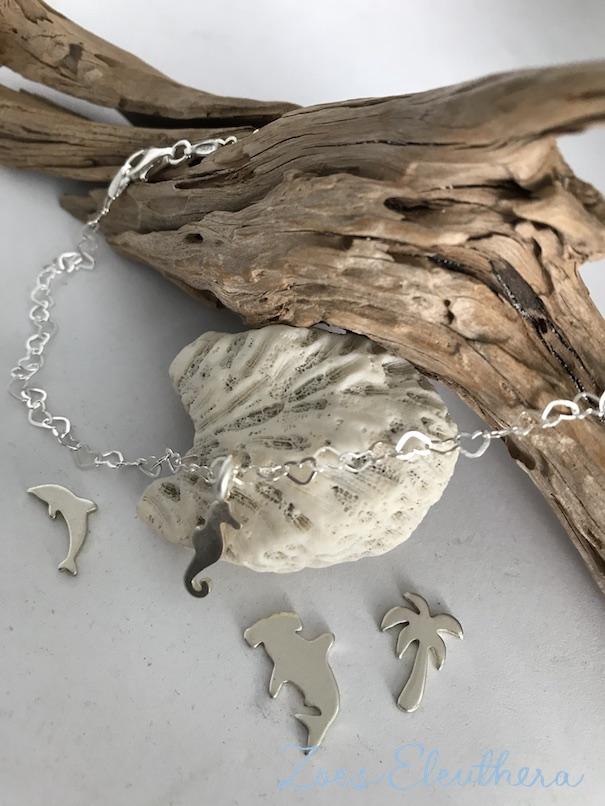 Fusskettchen Silber Motiv Seepferdchen Delphin Palme individualisierbar