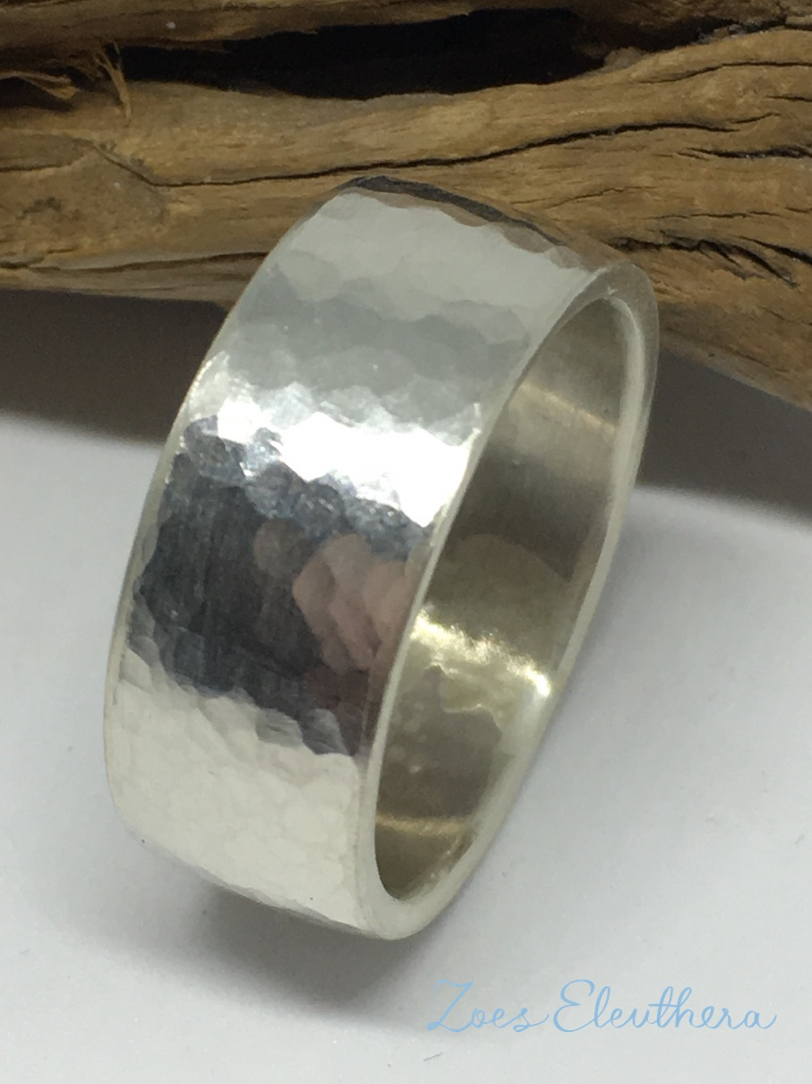 ring silver convex narrow structure individual