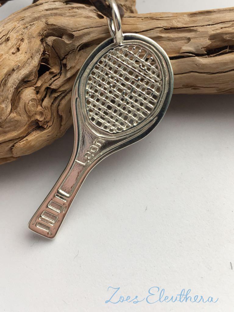 Anhänger Silber Tennisschläger Motiv individuell Tennisschläger Text