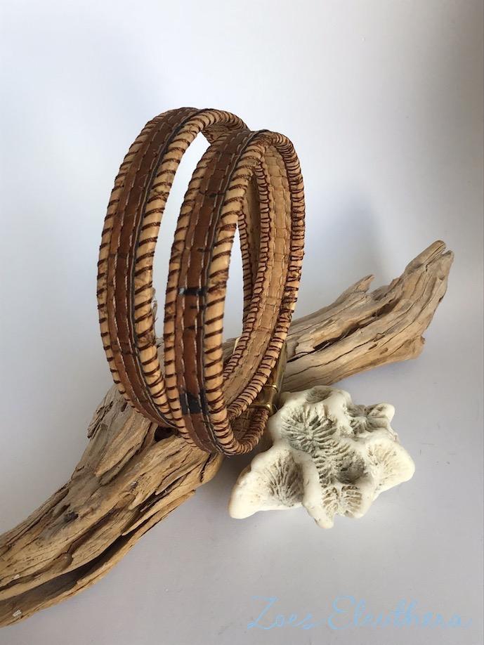 Armband Kork Braun Natur beige Struktur vegan zweireihig