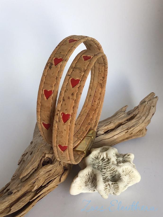 Armband Kork Herz Natur braun beige vegan Herz rot zweireihig