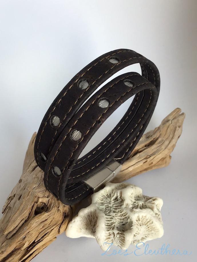 Armband Kork Punkte schwarz vegan Punkt silber zweireihig