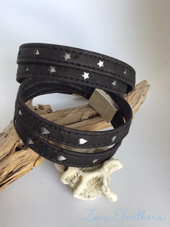 Armband Kork Stern Herz Silber schwarz vegan Stern Herz silber zweireihig individualisierbar