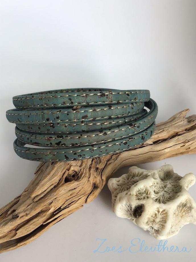 Armband Kork blau türkis vegan zart hellblau petrol meeresblau mehrreihig