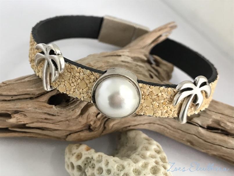 Armband Leder Sand Palme Magnetverschluss Sandstruktur Palme Perle