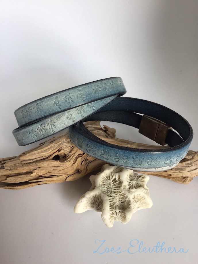 Armband Leder Text Name Motiv Magnetverschluss Text Motiv individuell Freundschaft blau vintage 10 mm