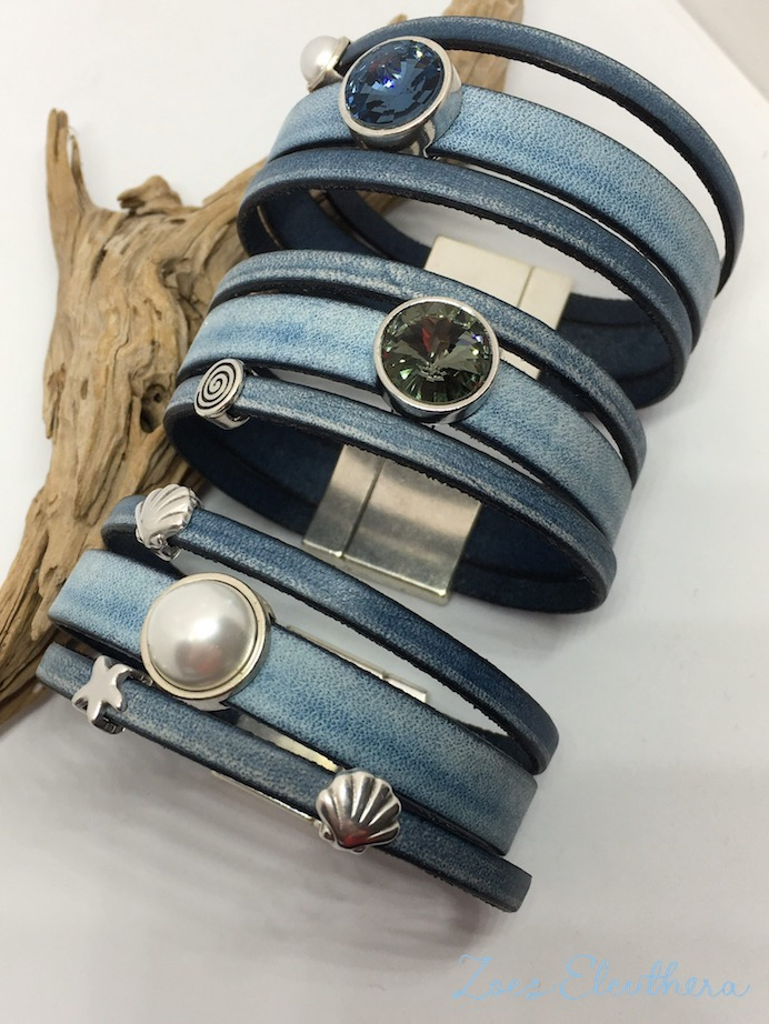 Armband Leder blau breit Magnetverschluss breit blau vintage Perle Kristall Stern