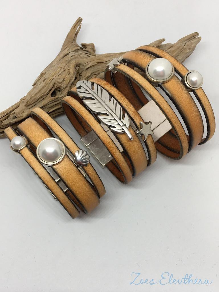 Armband Leder braun breit Magnetverschluss breit braun beige vintage Perle Feder Stern