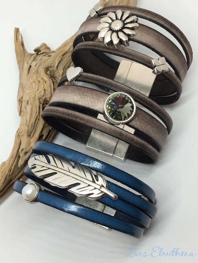 Armband Leder Motiv breit Magnetverschluss breit braun vintage Kristall Feder Blume
