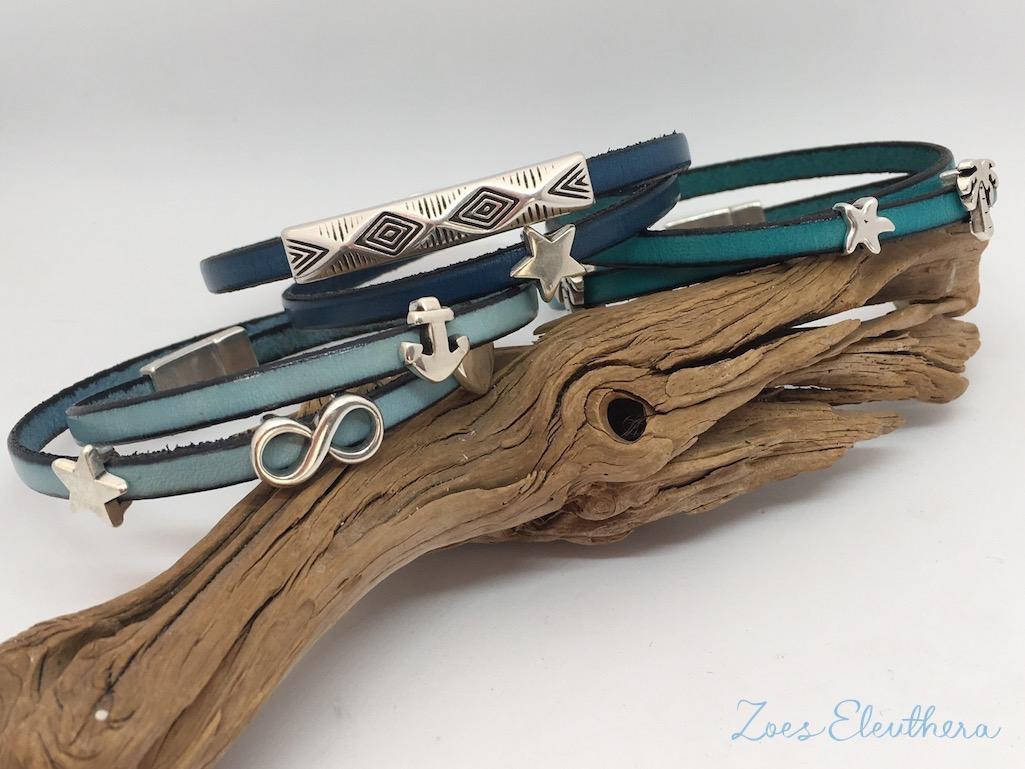 Armband Leder blau türkis Magnetverschluss zart blau hellblau petrol Anker Infinity Modelle individuell