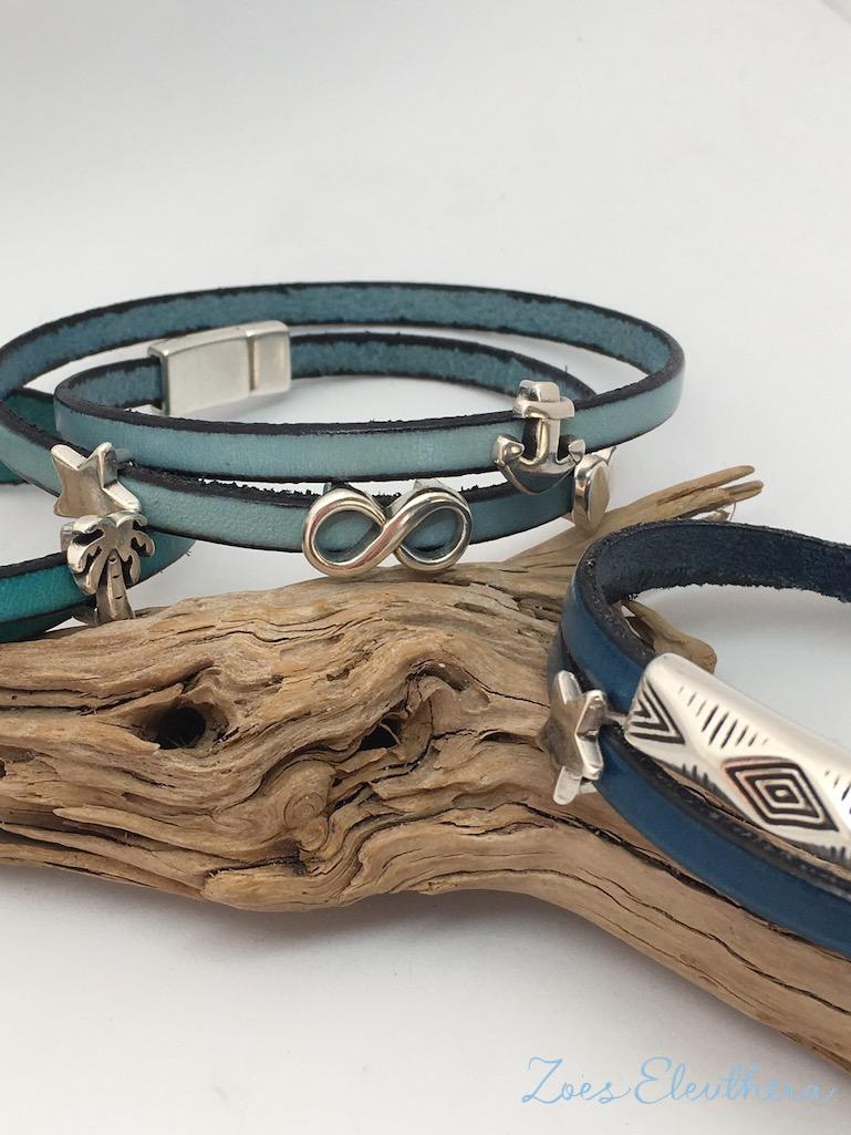 Armband Leder blau türkis Magnetverschluss zart blau hellblau petrol Infinity Modelle individuell