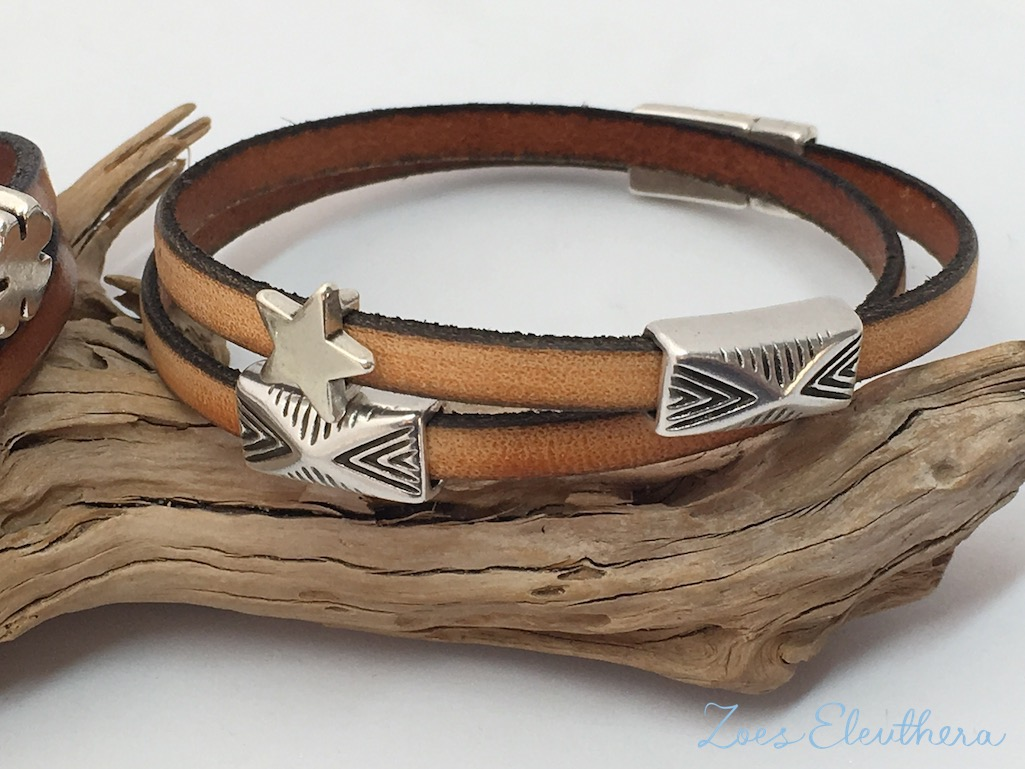 Bracelet Leather brown natural Magnetic clasp soft brown Models individual