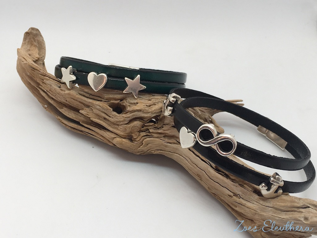 Armband Leder schwarz grün Magnetverschluss zart dunkelgrün schwarz Stern Infinity Modelle individuell