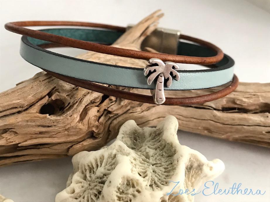 Armband Leder Motiv zart Magnetverschluss zart hellblau braun Palme mehrreihig