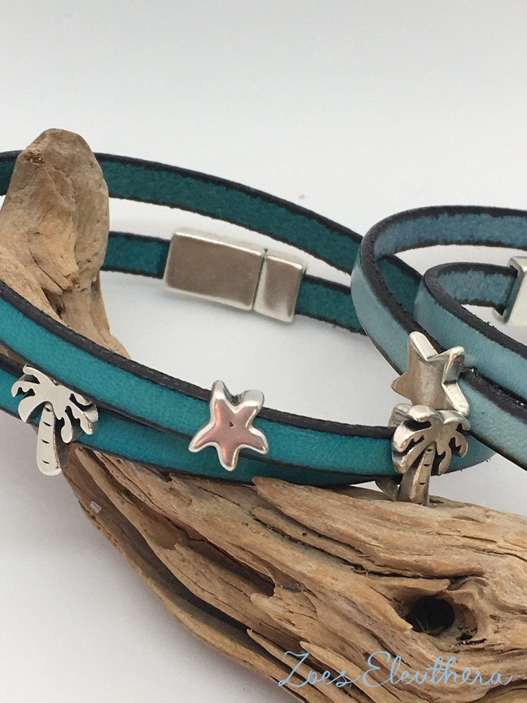 Armband Leder blau türkis Magnetverschluss zart hellblau petrol Palme Modelle individuell