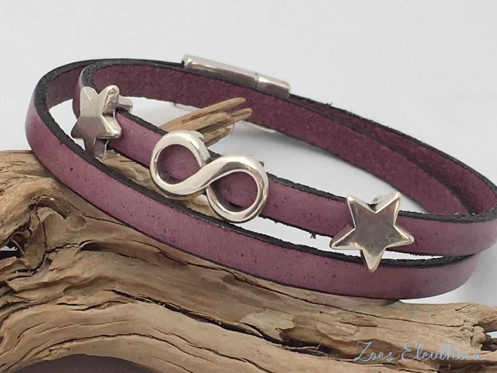 Armband Leder rosa pink Magnetverschluss zart rosa Infinity Modelle individuell