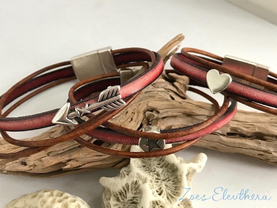 Armband Leder Motiv zart Magnetverschluss zart rot vintage braun Stern Herz mehrreihig