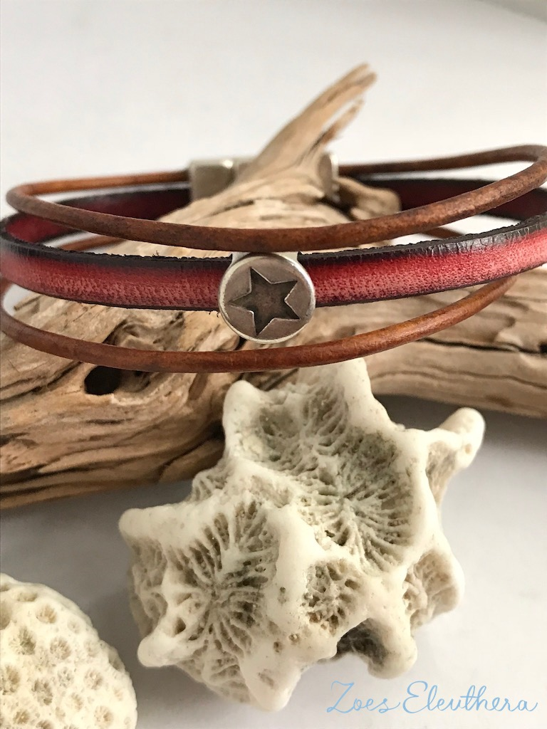 Bracelet leather motif soft magnetic clasp soft red vintage brown star multiple rows