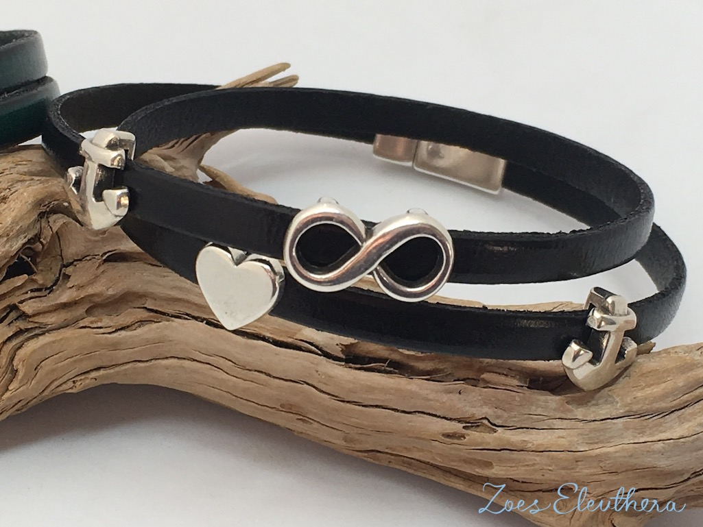 Bracelet Leather black green Magnetic clasp soft black Anker Infinity models individual