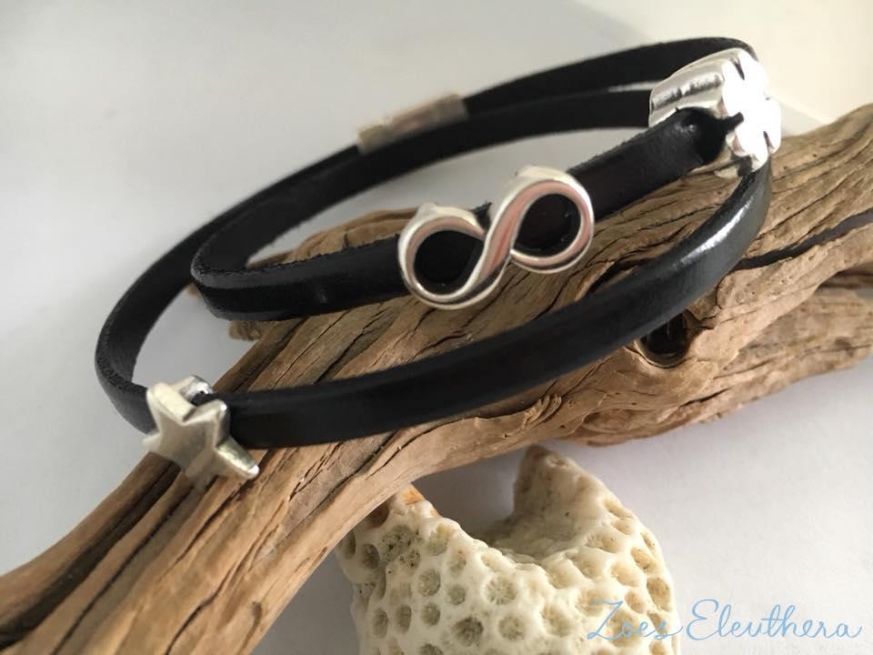 Armband Leder schwarz grün Magnetverschluss zart schwarz Glücksklee