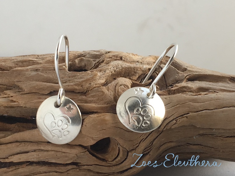 Earring Silver Paw Heart Dog