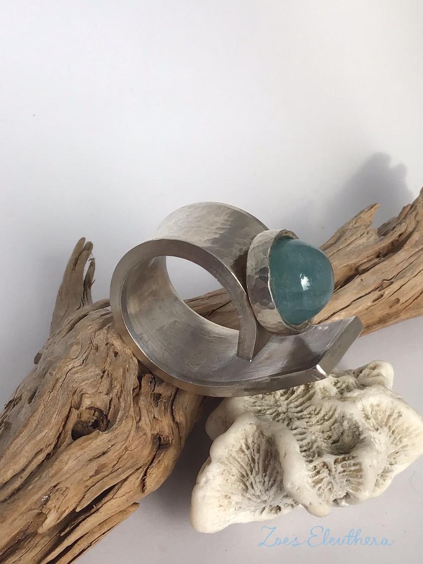 Ring Silber Aquamarin Welle breit massiv Hammerschlag RingnoRing RnR