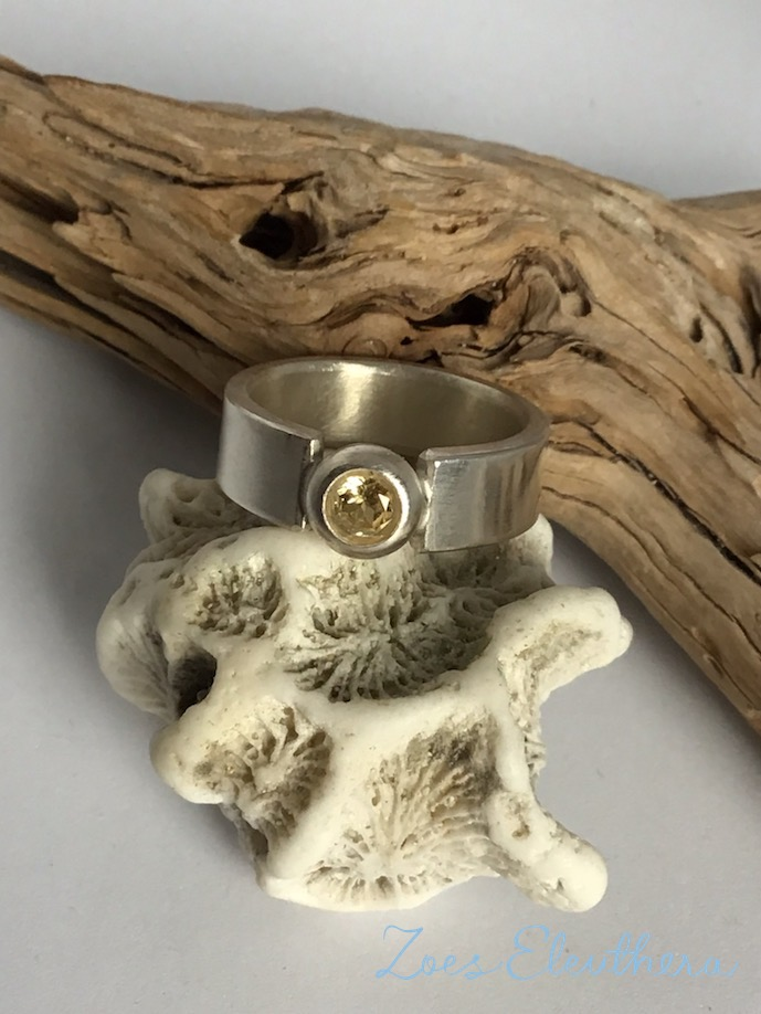 Ring Silber Edelstein zart Citrin matt individuell